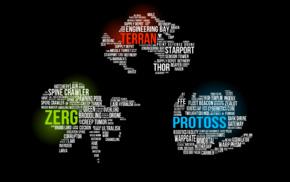 Terrans, StarCraft, Starcraft II, typography, word clouds, Zerg