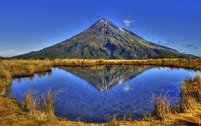 небо, озеро, осень, вода, вершина, трава