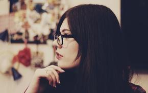 brunette, long hair, girl, red lipstick, glasses, dark hair