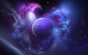 space, planet, nebula