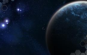 космос, абстрактные, синий, планета
