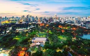 park, lights, evening, city, cities