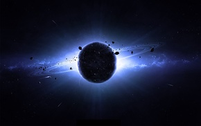 space art, planet, asteroid, planetary rings