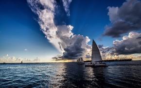 nature, sea, sailfish, clouds