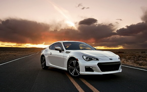 wheels, white, cars, sunset, road