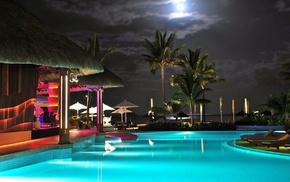 lights, sky, lighting, night, swimming pool