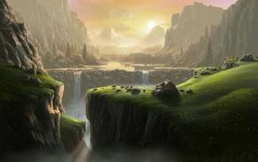 river, mountain, waterfall, landscape, fantasy art