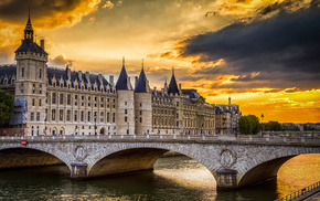 cities, sunset, France, bridge, river
