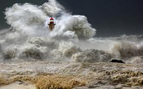 cloudy, ocean, element, lighthouse, foam