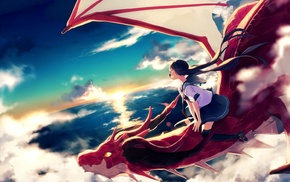 flying, anime girls, school uniform, clouds, original characters, dragon