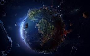абстрактные, аниме, планета, космос, Земля