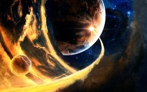 планета, звезды, абстрактные, космос