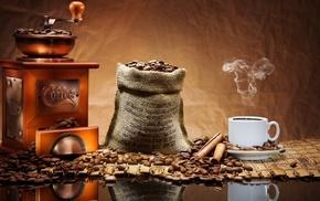 зерна, корица, чашка, кофе, вкусно