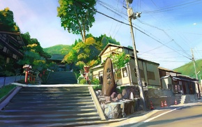 painting, trees, utility pole, power lines, artwork, Japan