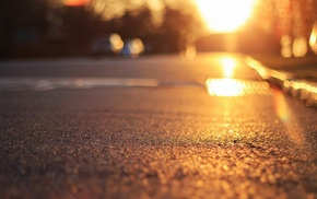 road, sunlight, depth of field, bokeh