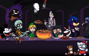 Minecraft, video game characters, Mickey Mouse, parody, Ghast, The Last Supper