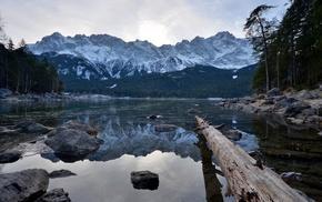 lake, mountain, nature, reflection, stones