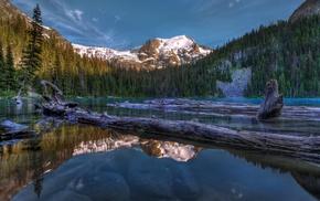 HDR, природа, озеро, отражение, горы