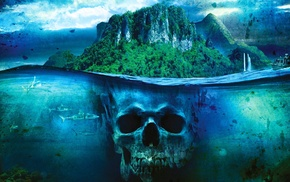 skull, sea, shark, split view, boat, island