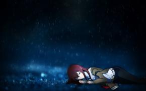 аниме, Makise Kurisu, дождь, девушки из аниме