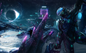 spaceship, futuristic, Vanu Sovereignty, space, robot, ice