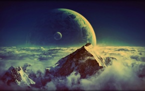 moon, mountain, clouds, space, planet