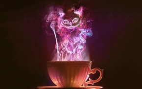 Alice in Wonderland, smoke, Cheshire Cat, cup, tea