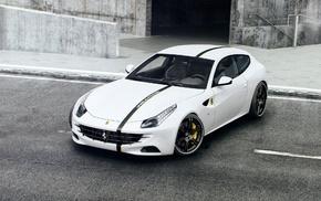 white, cars, sportcar, Ferrari, gray background