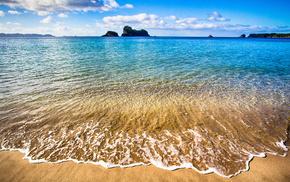 nature, rock, sea, clouds, surf