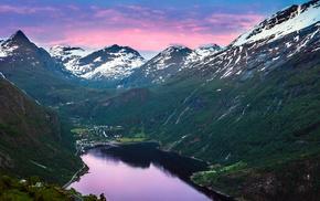 фьорд, залив, поселок, ущелье, природа, снег