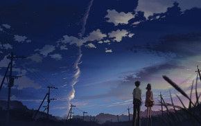utility pole, Makoto Shinkai, power lines, 5 Centimeters Per Second, anime, artwork