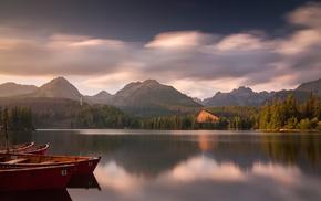 lake, mountain, water, boat