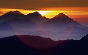 природа, лес, солнце, тучи, небо, закат
