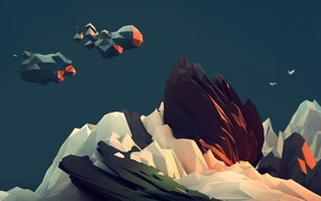 mountain, clouds, abstract, low poly, teal