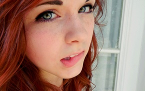 green eyes, freckles, redhead, girl, biting lip, face