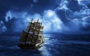 night, sky, stunner, lightning, ocean