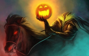 pumpkin, horseman, artwork, Halloween, horse