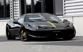 black, street, Ferrari, tuning, wheels