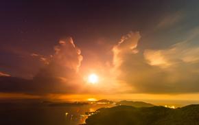 закат, город, природа, вечер, солнце, звезды