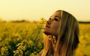 flowers, girl outdoors, Rapeseed, looking up, yellow flowers, blonde