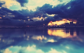 reflection, water, sunset, cityscape, clouds, overcast