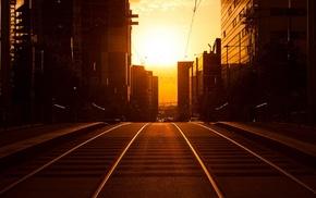 sunset, Golden Hour, road, silhouette, cityscape, Australia