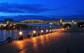 lights, cities, embankment, river, sky