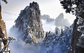sky, nature, trees, rocks, China