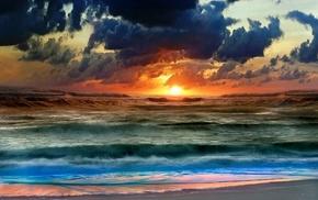 море, волны, вода, облака, закат