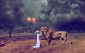 mountain, lion, photoshop, creative, girlie