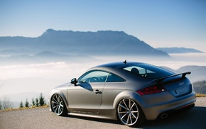 parking, mountain, Audi, mist, Alps