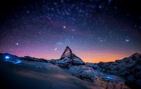 снег, горы, звезды, ночь, закат