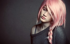 model, pink hair, pink eyes, girl, sad
