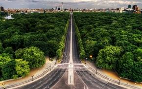 небо, парк, деревья, Германия, здания, трасса